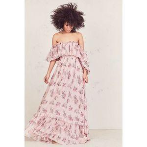 LOVE SHACK FANCY Tara Maxi Dress Gown- Pink Canopy